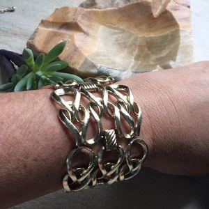 "Vintage SARAH Coventry Gold tone Bracelet 2"" wide"